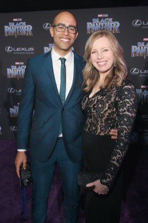 HOLLYWOOD, CA - JANUARY 29: Executive producer Nate Moore (L) and guest at the Los Angeles World Premiere of Marvel Studios' BLACK PANTHER at Dolby Theatre on January 29, 2018 in Hollywood, California. (Photo by Jesse Grant/Getty Images for Disney) *** Local Caption *** Nate Moore