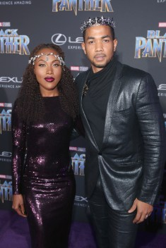 HOLLYWOOD, CA - JANUARY 29: Actors DeWanda Wise (L) and Alano Miller at the Los Angeles World Premiere of Marvel Studios' BLACK PANTHER at Dolby Theatre on January 29, 2018 in Hollywood, California. (Photo by Jesse Grant/Getty Images for Disney) *** Local Caption *** DeWanda Wise; Alano Miller