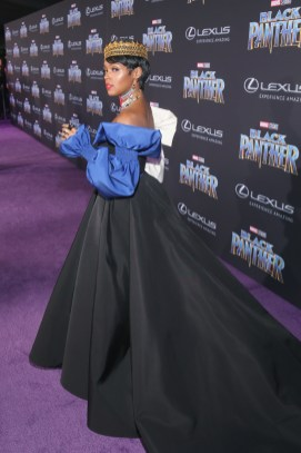 HOLLYWOOD, CA - JANUARY 29: Recording artist Janelle Monae at the Los Angeles World Premiere of Marvel Studios' BLACK PANTHER at Dolby Theatre on January 29, 2018 in Hollywood, California. (Photo by Jesse Grant/Getty Images for Disney) *** Local Caption *** Janelle Monae