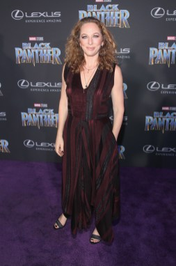 HOLLYWOOD, CA - JANUARY 29: Casting director Sarah Finn at the Los Angeles World Premiere of Marvel Studios' BLACK PANTHER at Dolby Theatre on January 29, 2018 in Hollywood, California. (Photo by Jesse Grant/Getty Images for Disney) *** Local Caption *** Sarah Finn