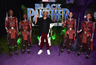 HOLLYWOOD, CA - JANUARY 29: Writer Lena Waithe (C) at the Los Angeles World Premiere of Marvel Studios' BLACK PANTHER at Dolby Theatre on January 29, 2018 in Hollywood, California. (Photo by Alberto E. Rodriguez/Getty Images for Disney) *** Local Caption *** Lena Waithe