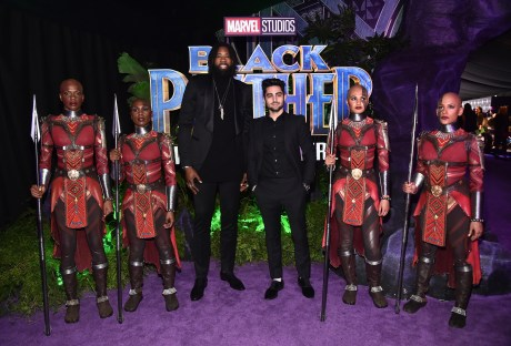 HOLLYWOOD, CA - JANUARY 29: NBA player DeAndre Jordan (L) and guest at the Los Angeles World Premiere of Marvel Studios' BLACK PANTHER at Dolby Theatre on January 29, 2018 in Hollywood, California. (Photo by Alberto E. Rodriguez/Getty Images for Disney) *** Local Caption *** DeAndre Jordan