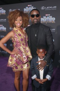 HOLLYWOOD, CA - JANUARY 29: Ryan Michelle Bathe, actor Sterling K. Brown, and guest at the Los Angeles World Premiere of Marvel Studios' BLACK PANTHER at Dolby Theatre on January 29, 2018 in Hollywood, California. (Photo by Jesse Grant/Getty Images for Disney) *** Local Caption *** Ryan Michelle Bathe; Sterling K. Brown