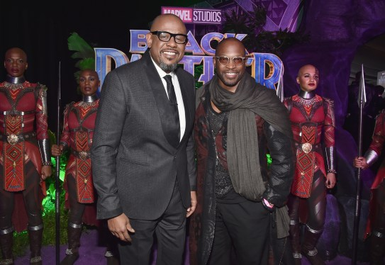 HOLLYWOOD, CA - JANUARY 29: Actor Forest Whitaker (L) and artist Chaz Guest at the Los Angeles World Premiere of Marvel Studios' BLACK PANTHER at Dolby Theatre on January 29, 2018 in Hollywood, California. (Photo by Alberto E. Rodriguez/Getty Images for Disney) *** Local Caption *** Forest Whitaker; Chaz Guest