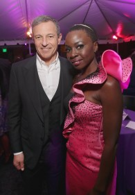 HOLLYWOOD, CA - JANUARY 29: Chairman and CEO of The Walt Disney Company Bob Iger (L) and actor Danai Gurira at the Los Angeles World Premiere of Marvel Studios' BLACK PANTHER at Dolby Theatre on January 29, 2018 in Hollywood, California. (Photo by Jesse Grant/Getty Images for Disney) *** Local Caption *** Bob Iger; Danai Gurira