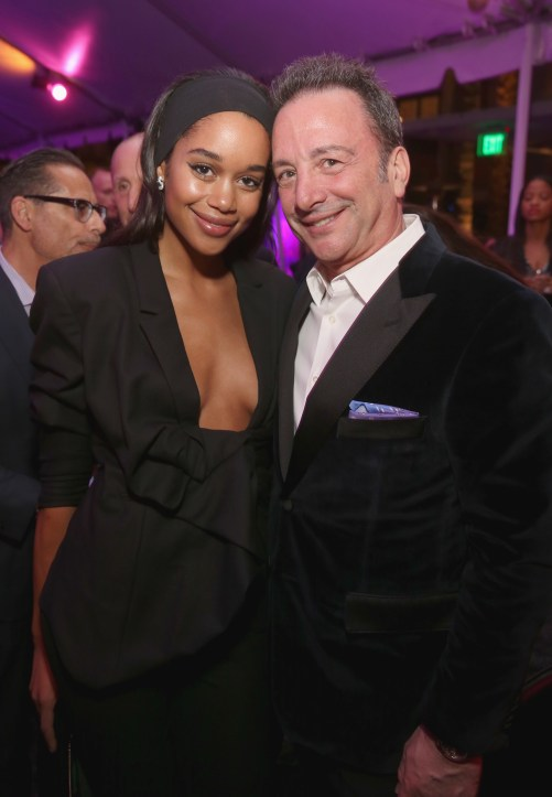 HOLLYWOOD, CA - JANUARY 29: Actor Laura Harrier (L) and producer Louis D'Esposito at the Los Angeles World Premiere of Marvel Studios' BLACK PANTHER at Dolby Theatre on January 29, 2018 in Hollywood, California. (Photo by Jesse Grant/Getty Images for Disney) *** Local Caption *** Laura Harrier; Louis D'Esposito