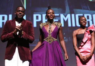 HOLLYWOOD, CA - JANUARY 29: (L-R) Actors Daniel Kaluuya, Lupita Nyong'o and Danai Gurira at the Los Angeles World Premiere of Marvel Studios' BLACK PANTHER at Dolby Theatre on January 29, 2018 in Hollywood, California. (Photo by Jesse Grant/Getty Images for Disney) *** Local Caption *** Lupita Nyong'o; Danai Gurira; Daniel Kaluuya