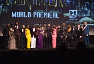 HOLLYWOOD, CA - JANUARY 29: (L-R) Actors Sterling K. Brown, Letitia Wright, Winston Duke, Martin Freeman, Angela Bassett, Daniel Kaluuya, Lupita Nyong'o, Chadwick Boseman, Michael B. Jordan, Danai Gurira, Andy Serkis, and Forest Whitaker; writer/director Ryan Coogler; Marvel Studios President Kevin Feige; producers Louis D'Esposito and Victoria Alonso, and executive producer Nate Moore at the Los Angeles World Premiere of Marvel Studios' BLACK PANTHER at Dolby Theatre on January 29, 2018 in Hollywood, California. (Photo by Alberto E. Rodriguez/Getty Images for Disney) *** Local Caption *** Sterling K. Brown; Letitia Wright; Winston Duke; Martin Freeman; Angela Bassett; Daniel Kaluuya; Lupita Nyong'o; Chadwick Boseman; Michael B. Jordan; Danai Gurira; Andy Serkis; Forest Whitaker; Ryan Coogler; Kevin Feige; Louis D'Esposito; Victoria Alonso; Nate Moore