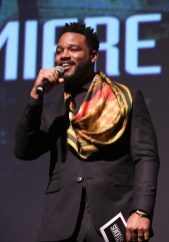 HOLLYWOOD, CA - JANUARY 29: Writer/director Ryan Coogler speaks onstage at the Los Angeles World Premiere of Marvel Studios' BLACK PANTHER at Dolby Theatre on January 29, 2018 in Hollywood, California. (Photo by Jesse Grant/Getty Images for Disney) *** Local Caption *** Ryan Coogler
