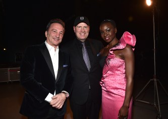 HOLLYWOOD, CA - JANUARY 29: (L-R) Producer Louis D'Esposito, Marvel Studios President Kevin Feige, and actor Danai Gurira at the Los Angeles World Premiere of Marvel Studios' BLACK PANTHER at Dolby Theatre on January 29, 2018 in Hollywood, California. (Photo by Alberto E. Rodriguez/Getty Images for Disney) *** Local Caption *** Louis D'Esposito; Danai Gurira; Kevin Feige