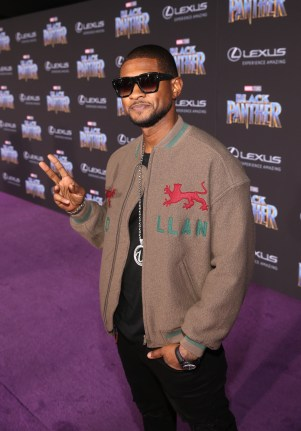HOLLYWOOD, CA - JANUARY 29: Singer Usher at the Los Angeles World Premiere of Marvel Studios' BLACK PANTHER at Dolby Theatre on January 29, 2018 in Hollywood, California. (Photo by Jesse Grant/Getty Images for Disney) *** Local Caption *** Usher
