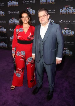 HOLLYWOOD, CA - JANUARY 29: Actors Meredith Salenger (L) and Patton Oswalt at the Los Angeles World Premiere of Marvel Studios' BLACK PANTHER at Dolby Theatre on January 29, 2018 in Hollywood, California. (Photo by Jesse Grant/Getty Images for Disney) *** Local Caption *** Meredith Salenger; Patton Oswalt