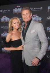HOLLYWOOD, CA - JANUARY 29: Actor David Hasselhoff (R) and Hayley Roberts at the Los Angeles World Premiere of Marvel Studios' BLACK PANTHER at Dolby Theatre on January 29, 2018 in Hollywood, California. (Photo by Jesse Grant/Getty Images for Disney) *** Local Caption *** David Hasselhoff; Hayley Roberts