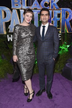 HOLLYWOOD, CA - JANUARY 29: Writer Emily V. Gordon and actor Kumail Nanjiani at the Los Angeles World Premiere of Marvel Studios' BLACK PANTHER at Dolby Theatre on January 29, 2018 in Hollywood, California. (Photo by Alberto E. Rodriguez/Getty Images for Disney) *** Local Caption *** Emily V. Gordon; Kumail Nanjiani