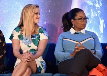 HOLLYWOOD, CA - FEBRUARY 25: Actors Reese Witherspoon (L) and Oprah Winfrey participate in the press conference for Disney's 'A Wrinkle in Time' in Hollywood, CA on March 25, 2018 (Photo by Alberto E. Rodriguez/Getty Images for Disney) *** Local Caption *** Reese Witherspoon; Oprah Winfrey