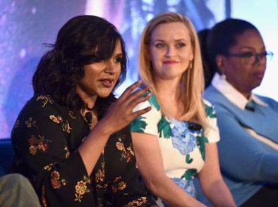 HOLLYWOOD, CA - FEBRUARY 25: (L-R) Actors Mindy Kaling, Reese Witherspoon and Oprah Winfrey participate in the press conference for Disney's 'A Wrinkle in Time' in Hollywood, CA on March 25, 2018 (Photo by Alberto E. Rodriguez/Getty Images for Disney) *** Local Caption *** Mindy Kaling; Reese Witherspoon; Oprah Winfrey