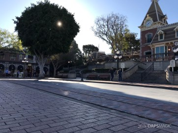 Disneyland Town Square Bricks With Walls Down in Spring-24