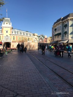 Disneyland Town Square Bricks With Walls Down in Spring-6