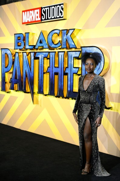"""LONDON, UK - FEBRUARY 08: Lupita Nyong'O attends the European Premiere of Marvel Studios' """"Black Panther"""" at the Eventim Apollo, Hammersmith on February 8, 2018 in London, England."""