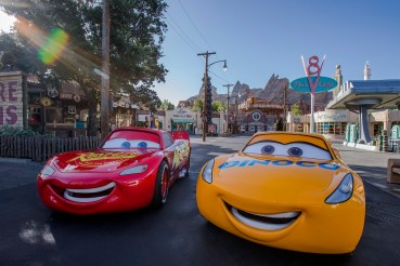 """CRUZ RAMIREZ RACES INTO CARS LAND (ANAHEIM, Calif-June 16, 2017) – Cruz Ramirez, one of the stars from Disney·Pixar's new film """"Cars 3,"""" joins Lightning McQueen and Mater in Cars Land. Guests can pose for pictures and interact with her outside the Cozy Cone Motel on Route 66. Cars Land, located in Disney California Adventure Park, features immersive family attractions showcasing characters and settings from the Disney•Pixar film, """"Cars,"""" and it's one of the largest and most elaborate themed environments ever created for a Disney park. (Joshua Sudock/Disneyland Resort)"""