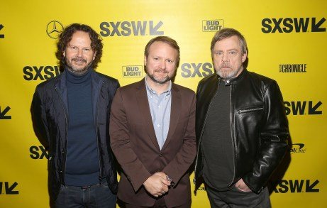 """AUSTIN, TX - MARCH 12: (L-R) Producer Ram Bergman, Writer/Director Rian Johnson and actor Mark Hamill attend the Star Wars: The Last Jedi """"The Director and The Jedi"""" SXSW Documentary Premiere at Paramount Theatre on March 12, 2018 in Austin, Texas. (Photo by Jesse Grant/Getty Images for Disney) *** Local Caption *** Ram Bergman;Anthony Wonke;Mark Hamill"""