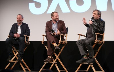 "AUSTIN, TX - MARCH 12: (L-R) Director Anthony Wonke, Writer/Director Rian Johnson and actor Mark Hamill attend the Star Wars: The Last Jedi ""The Director and The Jedi"" SXSW Documentary Premiere at Paramount Theatre on March 12, 2018 in Austin, Texas. (Photo by Jesse Grant/Getty Images for Disney) *** Local Caption *** Anthony Wonke;Rian Johnson;Mark Hamill"