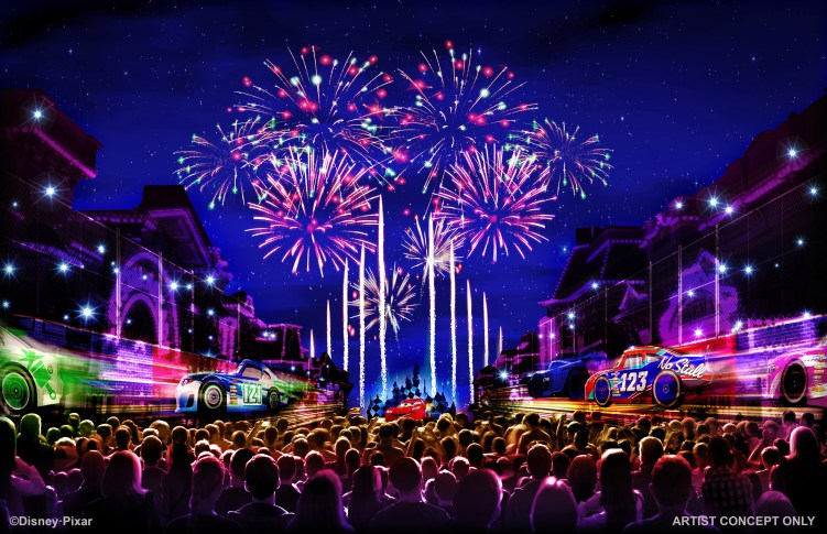 "TOGETHER FOREVER FIREWORKS – ""Together Forever – A Pixar Nighttime Spectacular,"" will celebrate Pixar stories through the decades as it lights up the sky over Disneyland park, beginning with the debut of Pixar Fest, April 13, 2018. This artist's concept illustrates how guests will be immersed in an emotional journey that begins with the meeting of unlikely Pixar pals and follows them through their adventures. ""Together Forever"" comes to life through projections on iconic park locations: Sleeping Beauty Castle, the water screens of the Rivers of America, the façade of ""it's a small world"" and the buildings of Main Street, U.S.A. (Disneyland Resort)"