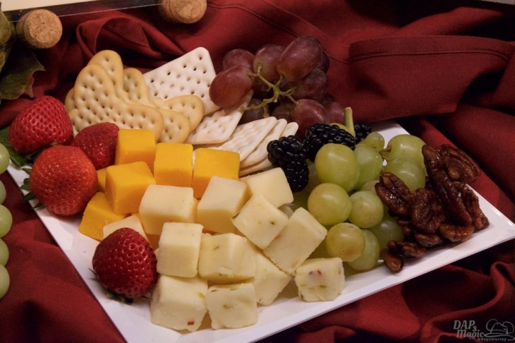 Cheese plate partnered with wine tasting