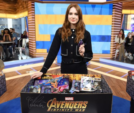 Marvel Studios' Avengers Infinity War talent Karen Gillan with Marvel The Universe Unites Hero Acts toy donation box for Starlight Children's Foundation