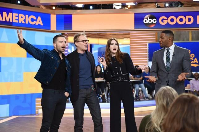 Marvel Studios' Avengers Infinity War talent Sebastian Stan, Paul Bettany, Karen Gillan and Michael Strahan