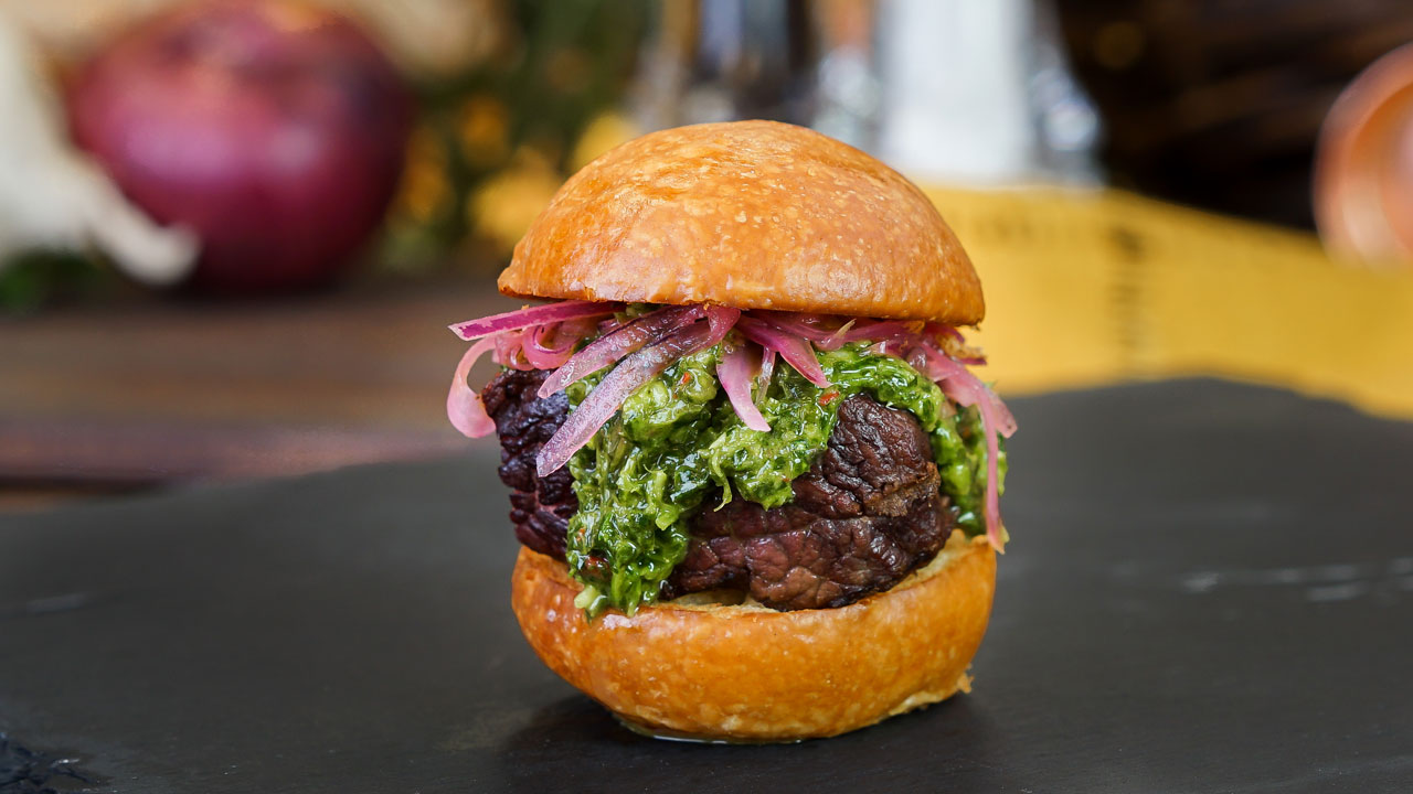 Geek Eats Disney Recipes: Beef Tenderloin Sliders with Garlic Chimichurri and Pickled Onions from Disney California Adventure Food & Wine Festival