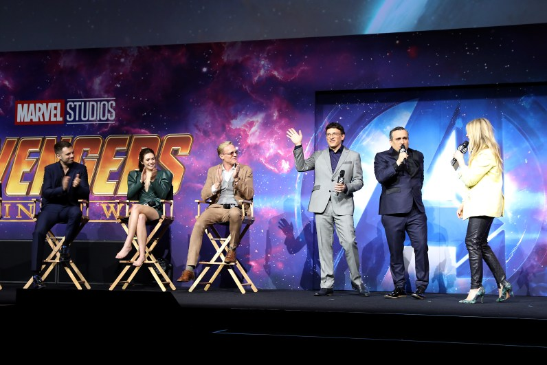 LONDON, ENGLAND - APRIL 08: (L-R) Sebastian Stan, Elizabeth Olson, Paul Bettany, Anthony and Joe Russo attend the UK Fan Event to celebrate the release of Marvel Studios' 'Avengers: Infinity War' at The London Television Centre on April 8, 2018 in London, England.