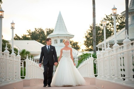 Fairy tales become reality at Walt Disney World Resort with Disney's Fairy Tale Weddings. From intimate occasions to grand affairs, Disney's Fairy Tale Weddings gives couples the opportunity to leave all the planning in expert hands to personally customize one of the most memorable experiences of a lifetime. Couples also have their choice of several unique wedding locations, including Disney's world-class theme parks, luxury resorts, or Disney's Fairy Tale Wedding Pavilion, adjacent to the luxurious Grand Floridian Resort & Spa on Seven Seas Lagoon in Lake Buena Vista, Fla. (Amy Smith, photographer)