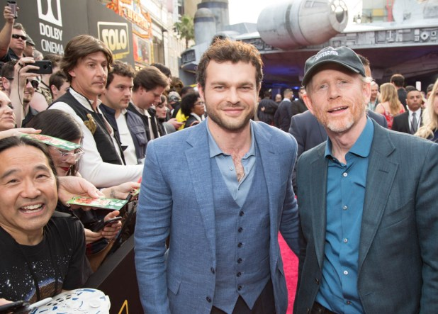 """Alden Enrenreich and Ron Howard pose together at the world premiere of """"Solo: A Star Wars Story"""" in Hollywood on May 10, 2018..(Photo: Alex J. Berliner/ABImages)."""