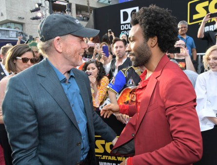 HOLLYWOOD, CA - MAY 10: Director Ron Howard (L) and actor Donald Glover attend the world premiere of ìSolo: A Star Wars Storyî in Hollywood on May 10, 2018. (Photo by Charley Gallay/Getty Images for Disney) *** Local Caption *** Donald Glover; Ron Howard