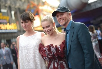 HOLLYWOOD, CA - MAY 10: (L-R) Actors Phoebe Waller-Bridge and Emilia Clarke, and Director Ron Howard attend the world premiere of ìSolo: A Star Wars Storyî in Hollywood on May 10, 2018. (Photo by Charley Gallay/Getty Images for Disney) *** Local Caption *** Ron Howard; Emilia Clarke; Phoebe Waller-Bridge