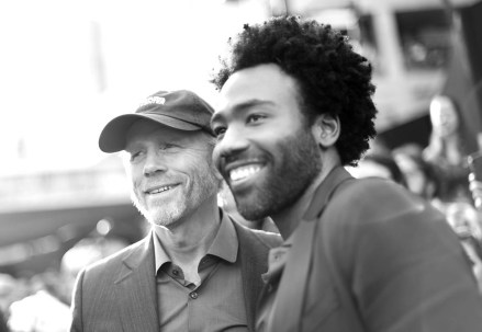 HOLLYWOOD, CA - MAY 10: (EDITORS NOTE: Image has been shot in black and white. Color version not available.) Director Ron Howard (L) and actor Donald Glover attend the world premiere of ìSolo: A Star Wars Storyî in Hollywood on May 10, 2018. (Photo by Charley Gallay/Getty Images for Disney) *** Local Caption *** Donald Glover; Ron Howard