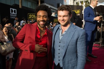 """Donald Glover and Alden Enrenreich attend the world premiere of """"Solo: A Star Wars Story"""" in Hollywood on May 10, 2018..(Photo: Alex J. Berliner/ABImages)."""