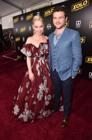 HOLLYWOOD, CA - MAY 10: Actors Emilia Clarke (L) and Alden Ehrenreich attend the world premiere of ìSolo: A Star Wars Storyî in Hollywood on May 10, 2018. (Photo by Alberto E. Rodriguez/Getty Images for Disney) *** Local Caption *** Emilia Clarke; Alden Ehrenreich
