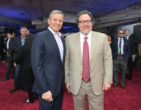 HOLLYWOOD, CA - MAY 10: The Walt Disney Company Chairman and CEO Bob Iger (L) and actor Jon Favreau attend the world premiere of ìSolo: A Star Wars Storyî in Hollywood on May 10, 2018. (Photo by Charley Gallay/Getty Images for Disney) *** Local Caption *** Jon Favreau; Bob Iger