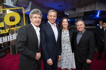 "Alan Horn, Bob Iger, Kathleen Kennedy and Alan Bergman attend the world premiere of ""Solo: A Star Wars Story"" in Hollywood on May 10, 2018..(Photo: Alex J. Berliner/ABImages)."