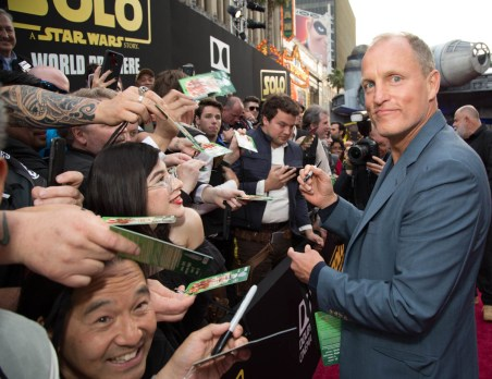 """Woody Harrelson attends the world premiere of """"Solo: A Star Wars Story"""" in Hollywood on May 10, 2018..(Photo: Alex J. Berliner/ABImages)."""