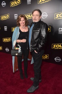 HOLLYWOOD, CA - MAY 10: Mark Hamill (R) and Marilou York attend the world premiere of ìSolo: A Star Wars Storyî in Hollywood on May 10, 2018. (Photo by Alberto E. Rodriguez/Getty Images for Disney) *** Local Caption *** Mark Hamill; Marilou York