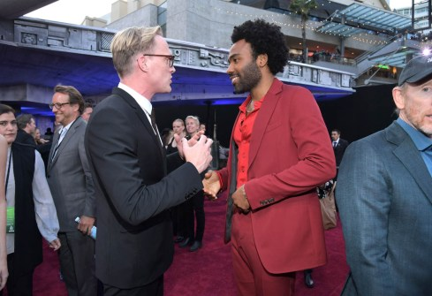 HOLLYWOOD, CA - MAY 10: Actors Paul Bettany (L) and Donald Glover attend the world premiere of ìSolo: A Star Wars Storyî in Hollywood on May 10, 2018. (Photo by Charley Gallay/Getty Images for Disney) *** Local Caption *** Paul Bettany; Donald Glover