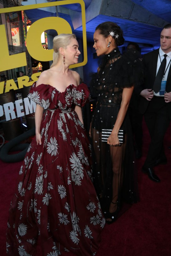 "Emilia Clarke and Thandie Newton attend the world premiere of ""Solo: A Star Wars Story"" in Hollywood on May 10, 2018. (Photo: Alex J. Berliner/ABImages)"