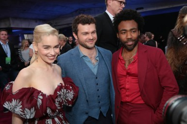 """Emilia Clarke, Alden Enrenreich and Donald Glover attend the world premiere of """"Solo: A Star Wars Story"""" in Hollywood on May 10, 2018. (Photo: Alex J. Berliner/ABImages)"""