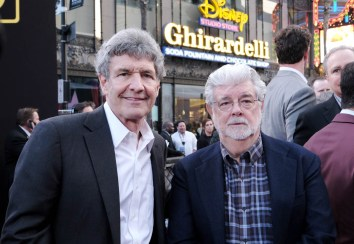 HOLLYWOOD, CA - MAY 10: Chairman, The Walt Disney Studios, Alan Horn (L) and George Lucas attend the world premiere of ìSolo: A Star Wars Storyî in Hollywood on May 10, 2018. (Photo by Alberto E. Rodriguez/Getty Images for Disney) *** Local Caption *** Alan Horn; George Lucas