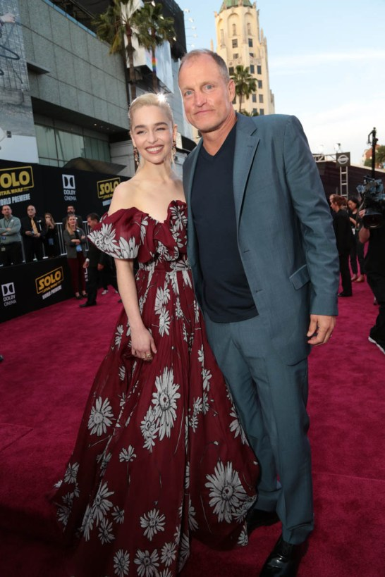 "Emilia Clarke and Woody Harrelson attend the world premiere of ""Solo: A Star Wars Story"" in Hollywood on May 10, 2018. (Photo: Alex J. Berliner/ABImages)"
