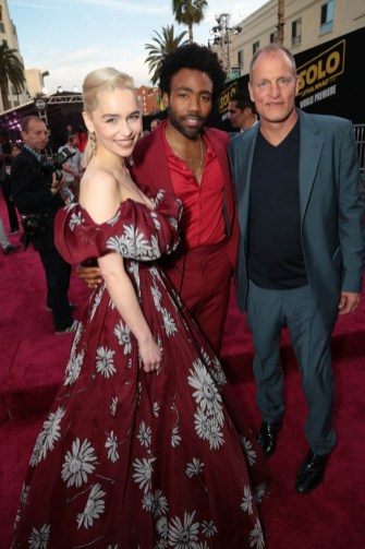 "Emilia Clarke, Donald Glover and Woody Harrelson attend the world premiere of ""Solo: A Star Wars Story"" in Hollywood on May 10, 2018. (Photo: Alex J. Berliner/ABImages)"