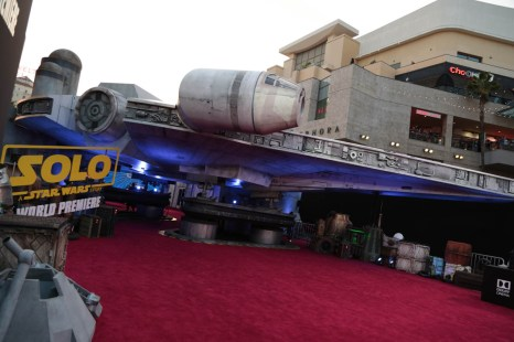 """A view of the Millennium Falcon during the world premiere of """"Solo: A Star Wars Story"""" in Hollywood on May 10, 2018. (Photo: Alex J. Berliner/ABImages)"""